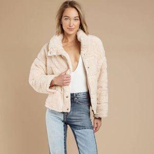 Off white fuzzy puffer jacket